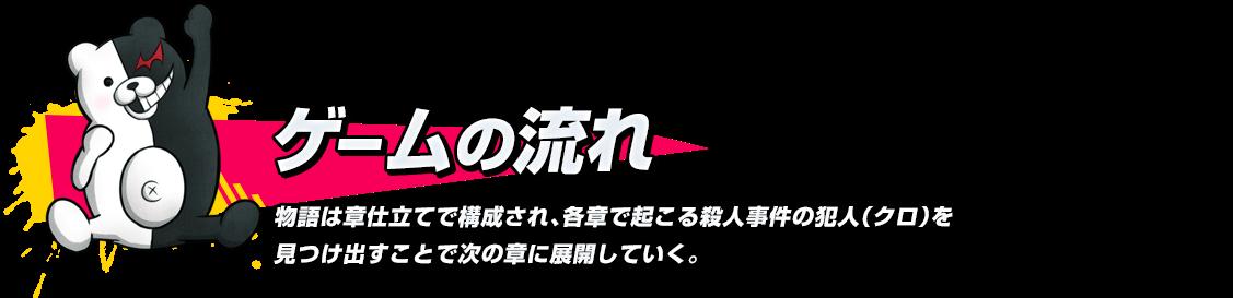 ゲームの流れ 物語は章仕立てで構成され、各章で起こる殺人事件の犯人(クロ)を見つけ出すことで次の章に展開していく。